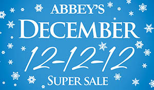 Abbey's December 12-12-12- super sale going on now!  $12 installation | 12 months 0% financing | 12% off regular prices!  Stop by Ted's Abbey Carpet today and save on carpet, hardwood, laminate, tile & vinyl tile!