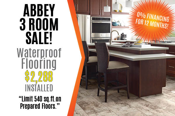 3 rooms of waterproof flooring just $2288 installed at Ted's Abbey Carpet & Floor!* 0% Financing available!