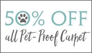 50% off all pet-proof carpet this month at Ted's Abbey Carpet in Anniston!